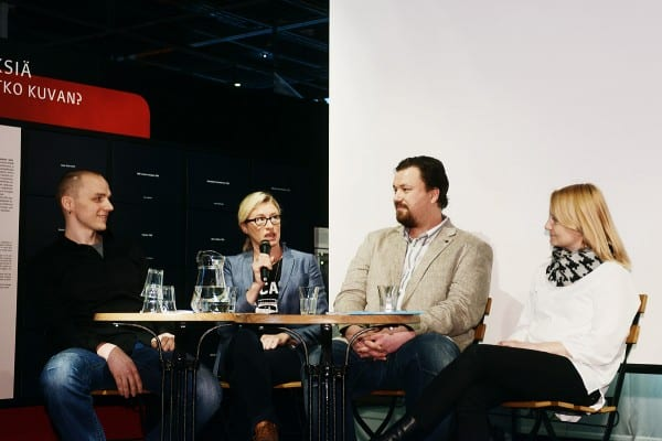 Panelistit Teemu Korhonen, Katja Ståhl, Tommi Tossavainen ja Satu Valkonen. Kuva Ida Pimenoff