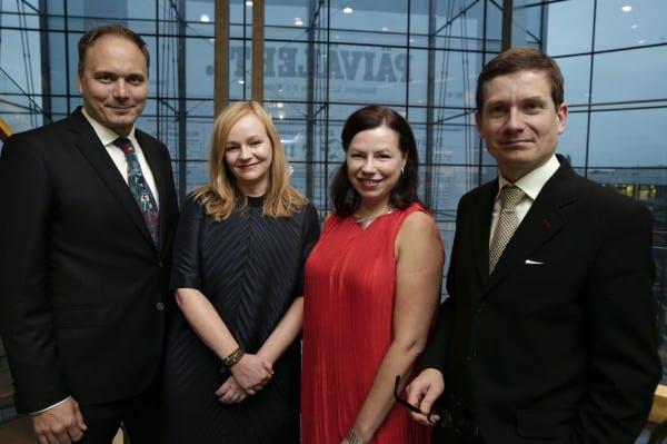 Sananvapausmitalien saajat: Sami Sillanpää, Anu Nousiainen, Susanna Reinboth ja Kaius Niemi. Kuva: Juhani Niiranen