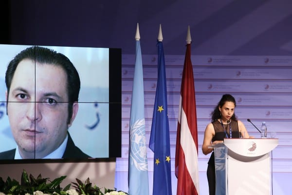 [03.05.2015] World Press Freedom Day 2015 / UNESCO / Guillermo Cano World Press Freedom Prize Ceremony  , Ms Yara Badr, Spouse of Mazen Darwish, UNESCO/Guillermo Cano World Press Freedom Prize Laureate 2015
